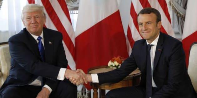 Imagen de archivo del primer encuentro de Trump y Macron el pasado mes de mayo.