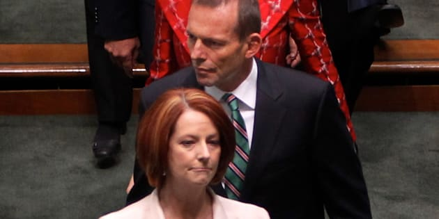 Prime Minister Julia Gillard and Opposition Leader Tony Abbott at the opening of the 43rd Parliament.