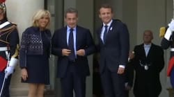 Les images de Hollande et Sarkozy reçus par Macron à