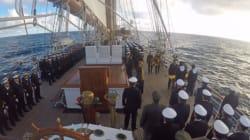 El emotivo y viral homenaje del Juan Sebastián Elcano al submarino argentino ARA San