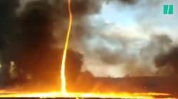 En Angleterre, une impressionnante tornade de feu s'est formée pendant un
