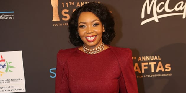 """Former """"Our Perfect Wedding"""" host Thembisa Mdoda at the 2017 Saftas."""