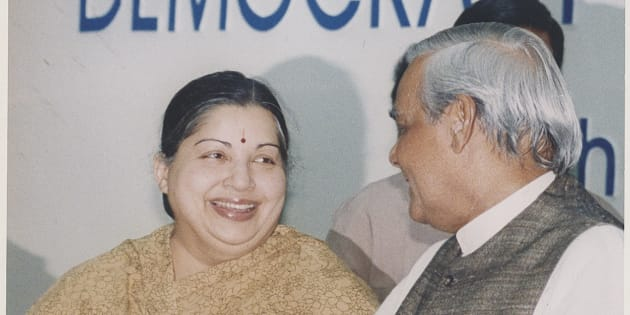 NEW DELHI, INDIA  JANURAY 30, 1999: (File Photo) Prime Minister Atal Bihari Vajpayee with AIADMK Leader Jayalalithaa on January 30, 1999 in New Delhi, India. Tamil Nadu Chief Minister J Jayalalithaa suffered a cardiac arrest late on December 4, 2016. She has been put on a heart assist device. Jayalalithaa has been in intensive care since September 22, after she complained of fever, dehydration and congestion. It had been announced on December 4 that she had made a full recovery. (Photo by Hindustan Times via Getty Images)