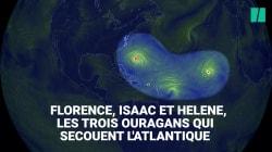 Les images impressionnantes des trois ouragans qui avancent ensemble dans