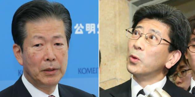 公明党・山口那津男代表(左)と佐川宣寿氏