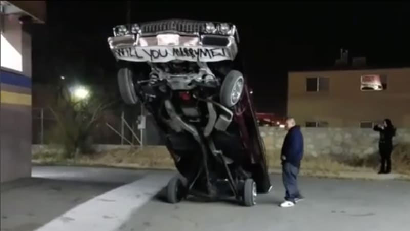 Lowrider enthusiast uses Chevy Impala for a wedding proposal