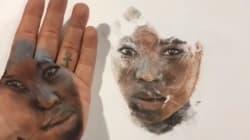 Este artista estampa los dibujos que pinta en su