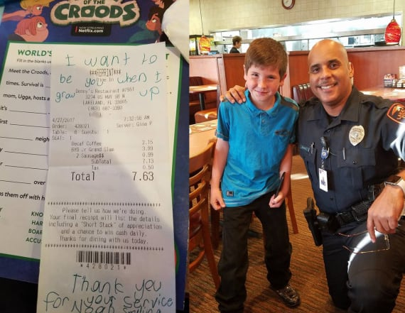 8-year-old writes inspiring note on cop's receipt