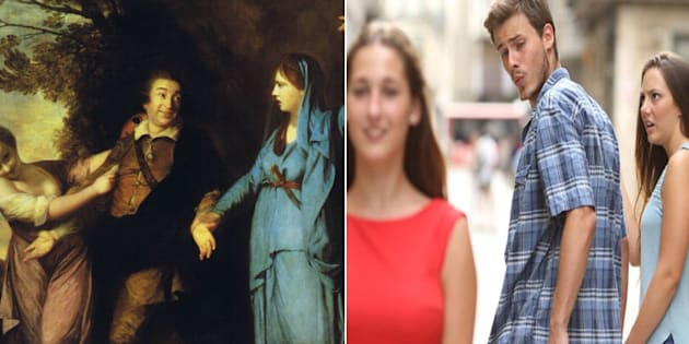 """Quelqu'un a trouvé l'ancêtre du meme """"distracted boyfriend"""" et il date du XVIIIe siècle"""