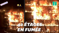 Les images du gigantesque incendie qui a ravagé un immeuble à