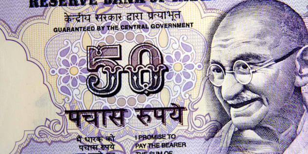 Close up of Indian fifty rupee note