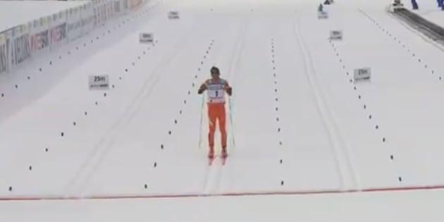 Le skieur de fond Adrian Solano lors des championnats du monde de ski nordique à Lahti en Finlande