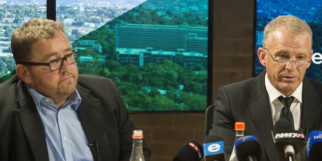 Former National Prosecuting Authority (NPA) advocate Gerrie Nel and AfriForum CEO Kallie Kriel during a media briefing to announce Nels resignation from the NPA on January 31, 2017 in Johannesburg, South Africa.