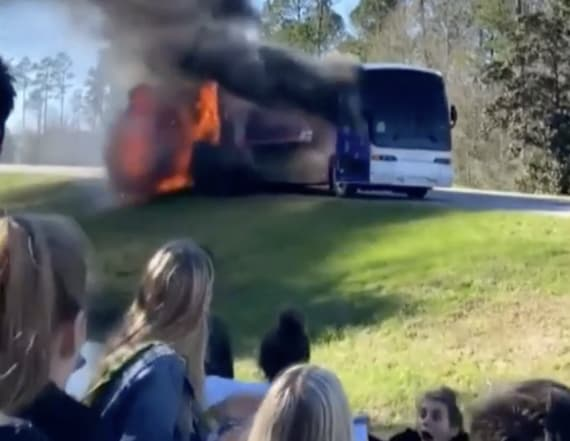 Students film themselves evacuating burning bus