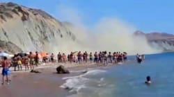 Frana in spiaggia ad Agrigento: bagnante si salva per