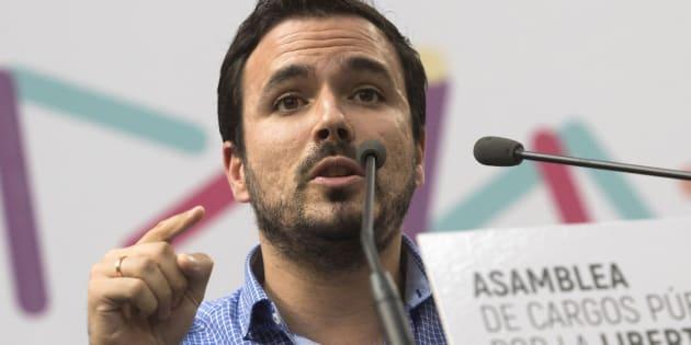 El secretario general de Izquierda Unida, Alberto Garzón, en el Congreso de Unidos Podemos en Zaragoza el 24 de septiembre de 2017.