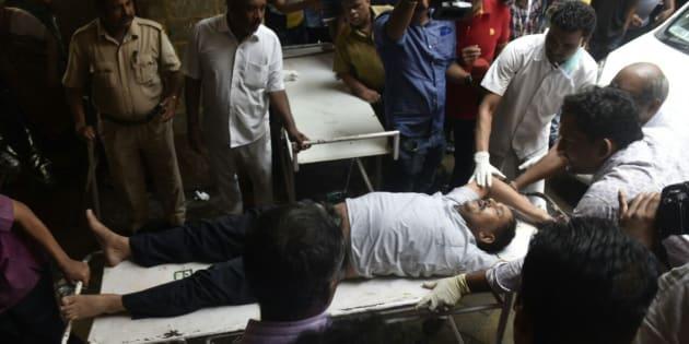 MUMBAI, INDIA - SEPTEMBER 29: INjured being brought at kem hospital   on September 29, 2017 in Mumbai, India.
