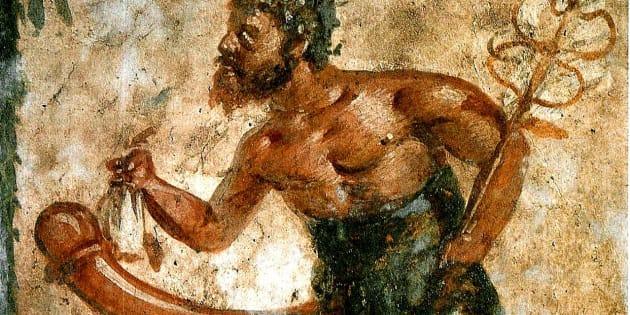 Imagen de Príapo, un dios romano maldecido con un pene gigante.