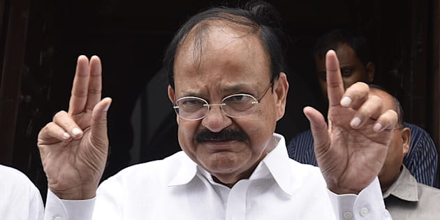 NDA nominated candidate for Vice President Muppavarapu Venkaiah Naidu during the Monsoon Session at Parliament House on July 24, 2017 in New Delhi, India.
