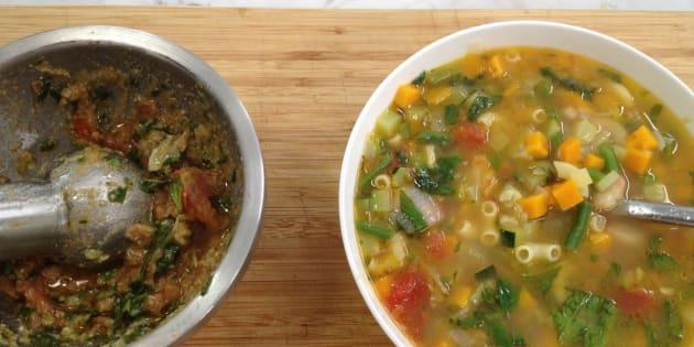 Ma recette, vite fait, bien fait, de la soupe au pistou.