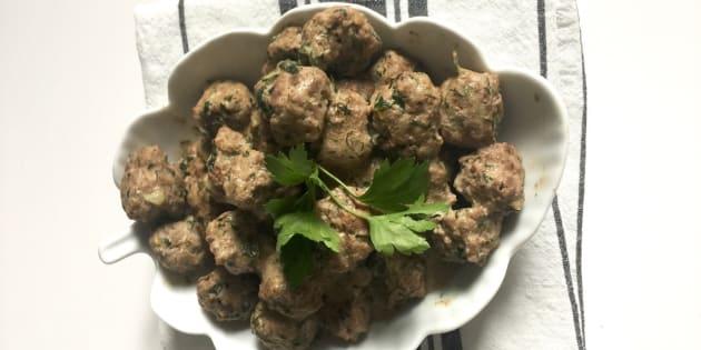 Ma recette, vite fait, bien fait, de boulettes de boeufs à la féta et aux herbes