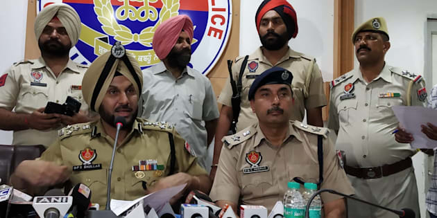 Jalandhar police commissioner Gurpreet Singh Bhullar at a press conference on Wednesday.
