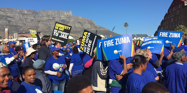 Democratic Alliance supporters protesting. (Photo by Gallo Images/Brenton Geach)