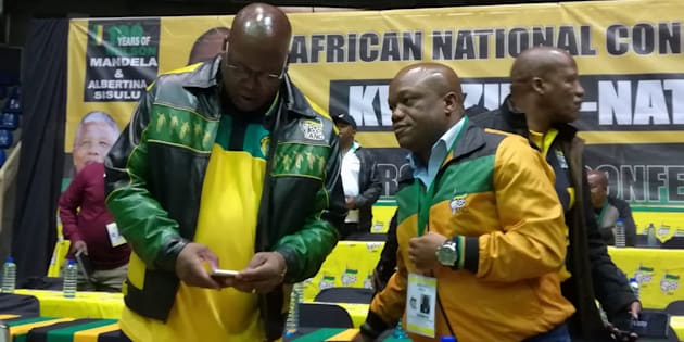 Mike Mabuyakhulu and Sihle Zikalala on stage in front of ANC delegates in Empangeni, where the party's elective conference was supposed to take place.