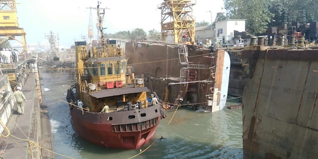 INS Betwa tipped over side ways on Monday and was badly damaged.