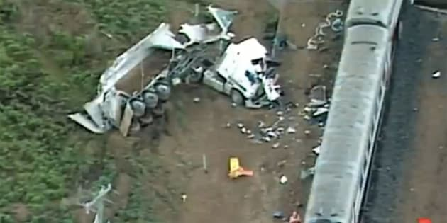 The truck driver was taken to hospital in a critical condition.