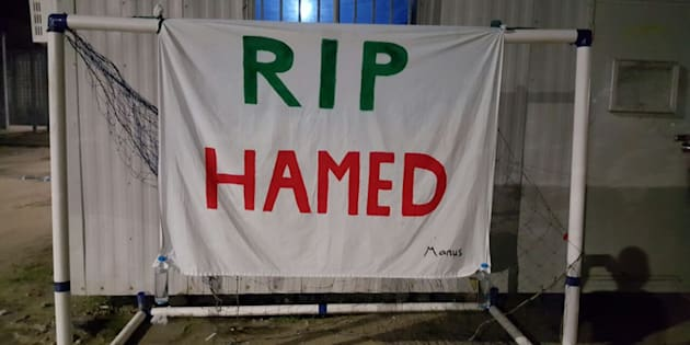 Days after the death of Hamed Shamshiripour on Manus Island, friends and fellow asylum seekers held a vigil for the 31-year-old.