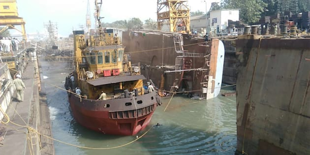 Frontline Indian Navy ship INS Betwa after it tipped over.
