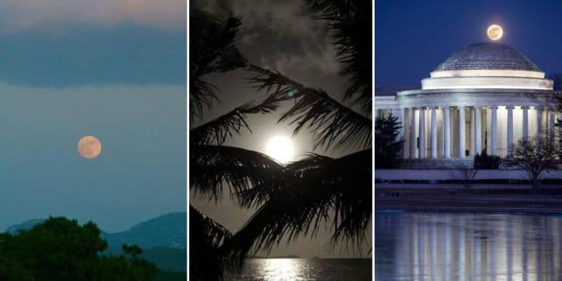 """La """"Super lune"""" du 1er janvier en images"""
