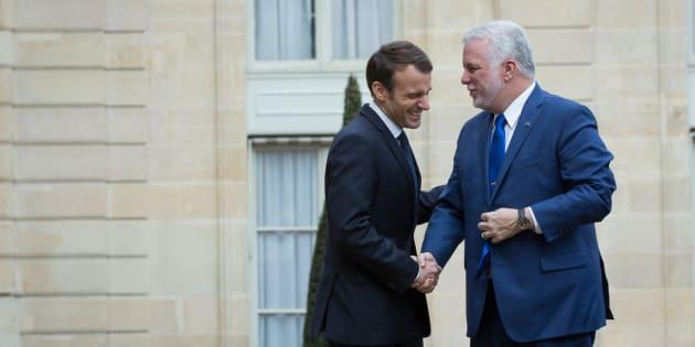 Le président français Emmanuel Macron et le premier ministre du Québec Philippe Couillard.