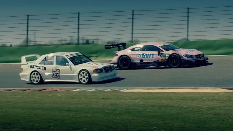 This old Mercedes-Benz 190E DTM racer shows a C63 AMG new