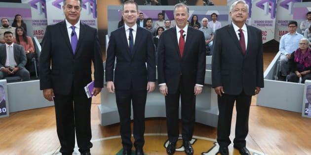 Los candidatos, de izquierda a derecha: Jaime Rodríguez Calderón, Ricardo Anaya, Jose Antonio Meade y Andrés Manuel López Obrador en Tijuana, México. Mayo 20, 2018. National Electoral Institute/Handout via REUTERS