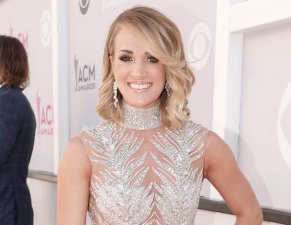 Carrie Underwood sparkles in sheer gown