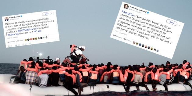 Aquarius: la Corse propose d'ouvrir un port aux migrants, quelques minutes avant le début du processus de départ vers l'Espagne.