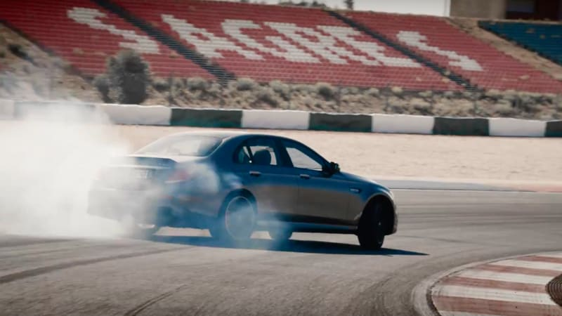 watch the mercedes amg e63 s pull a smoky drift autoblog. Black Bedroom Furniture Sets. Home Design Ideas