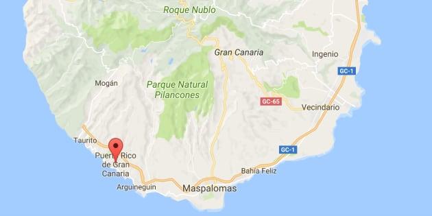 Mapa de situación de la localidad de Puerto Rico, en el municipio de Mogán, donde ha ocurrido el crimen.
