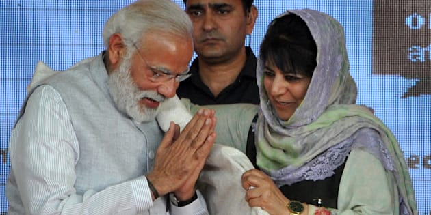 File photo of J&K chief minister Mehbooba Mufti with Prime Minister Narendra Modi.