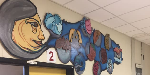 Artwork is seen in the hallway of Eastview Public School.