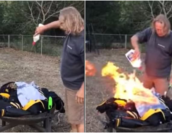 Fans set fire to their NFL gear after players kneel