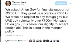 Kerala Floods: Modi Government Won't Accept Rs 700 Cr From The UAE And Twitter Is