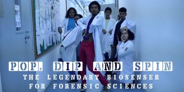 """Natalia Oliveira decidiu usar a dança para apresentar sua tese em""""Desenvolvimento de Biossensores para as Ciências Forenses""""."""