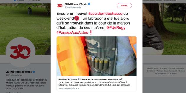 Tweet de 30 millions d'amis interpellant François de Rugy