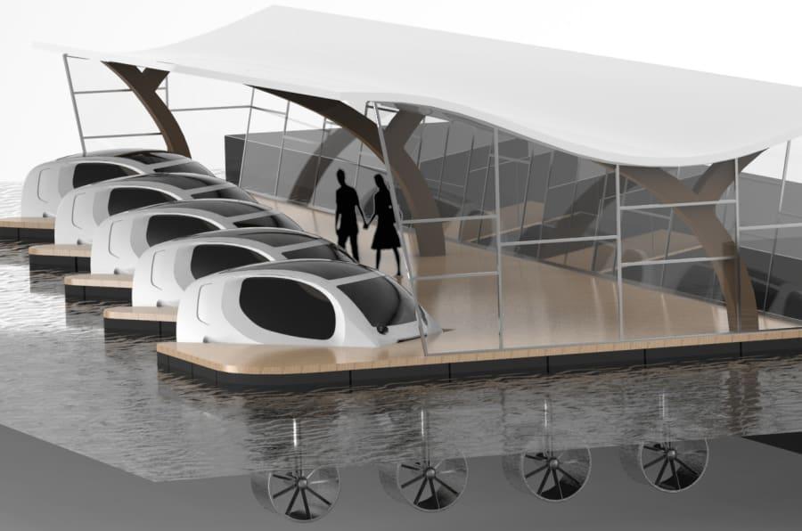 Le quai d'amarrage de ces véhicules de demain utiliserait des hydroliennes et des panneaux solaires pour recharger les navettes.