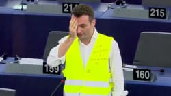Au Parlement européen, Philippot se cache un œil en soutien aux gilets