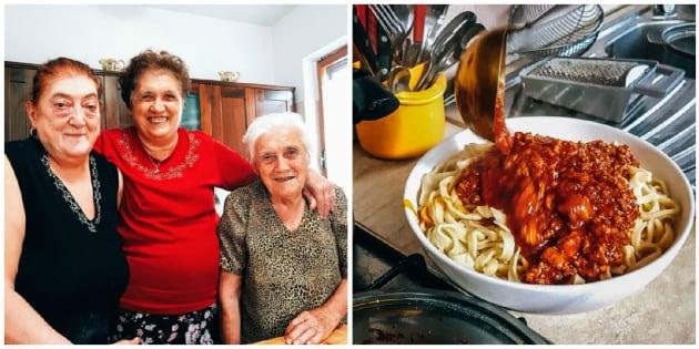 Da esquerda para a direita: Graziella, Franca e Elide se reúnem na cozinha para fazer ragù (à dir.)