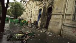 Les images de la porte du lycée Voltaire à Paris brûlée pour la grève des